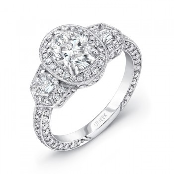 Uneek Deco-Inspired Diamonds-All-Around Oval-Center Three-Stone Engagement Ring, in 18K White Gold