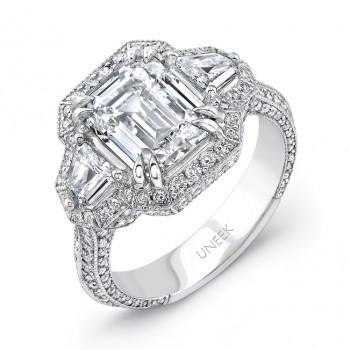 Uneek Deco-Inspired Diamonds-All-Around Emerald-Center Three-Stone Engagement Ring, in Platinum