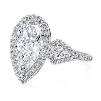 Uneek Platinum Three Stone Pear Shaped Halo Diamond Engagement Ring- LVS620