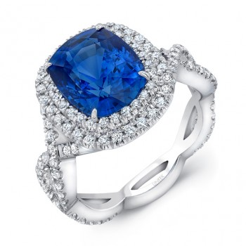 Uneek 5-Carat Cushion-Cut Sapphire Engagement Ring with Dreamy Double Halo and Elegant Crisscross Sh