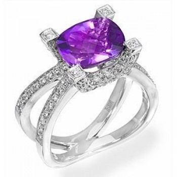 Stunning Amethyst and Diamond Ring by Zeghani