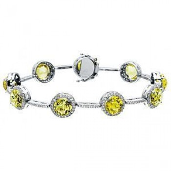 Gorgeous Zeghani Lemon Quartz and Diamond Bracelet