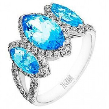 Zeghani 3 Stone Aquamarine Ring