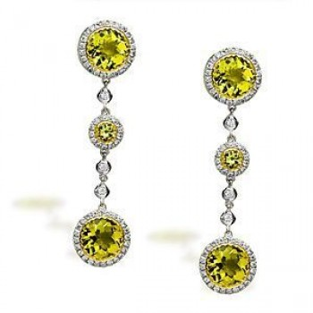 Gorgeous Lemon Quartz and Diamond Earrings by Zeghani