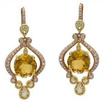 Stunning Zeghani Two-tone Citrine Earrings