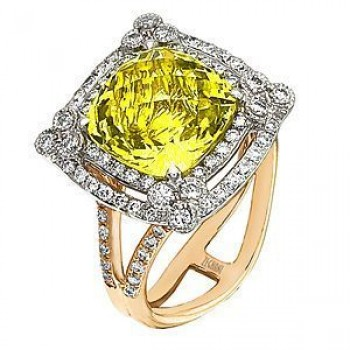 Alluring Zeghani Lemon Quartz and Diamond Ring