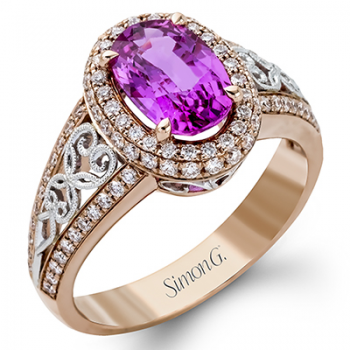 18K WHITE & ROSE GOLD, WITH WHITE DIAMONDS. MR2470 - COLOR RING