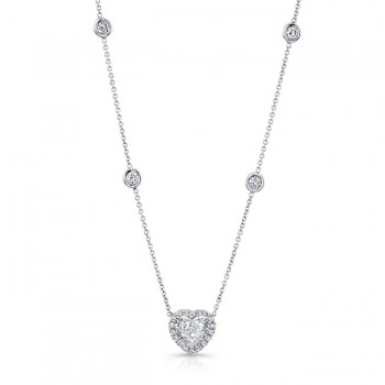 18K White Gold Heart Shaped Diamond Necklace NEK150