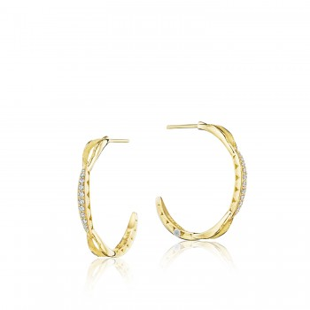 Petite Crescent Curve Hoop Earrings featuring Diamonds se196y