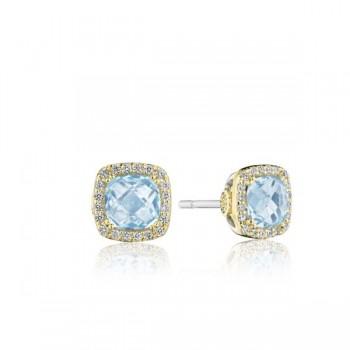 Cushion Bloom Gemstone Earrings with Diamonds and Sky Blue Topaz