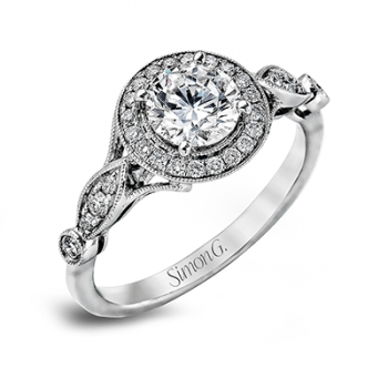 18K WHITE GOLD, WITH WHITE DIAMONDS. TR523 - ENGAGEMENT RING