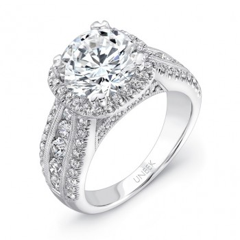 Uneek 1-Carat Round-Diamond-on-Cushion-Halo Wide-Band Engagement Ring with Three-Row Channel- and Pa