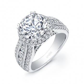 Uneek 1-Carat Round-Diamond Wide-Band Halo Engagement Ring with Three-Row Channel- and Pave-Set Mele