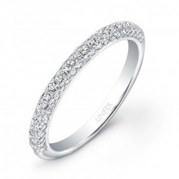 Uneek Three-Sided Diamond Wedding Band in 14K White Gold