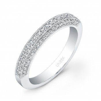 Uneek Three-Sided Pave Diamond Wedding Band with Milgrain Edging, in 14K White Gold