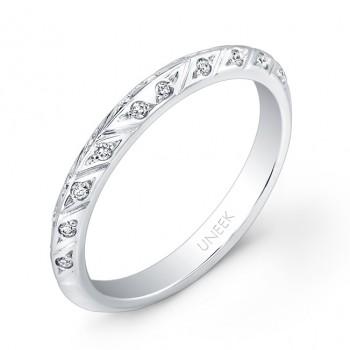Uneek Hand-Engraved Knife-Edge Diamond Wedding Band in 14K White Gold