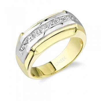 Uneek 18K White and Yellow Gold Princess-Cut Diamond Men's Band WB104
